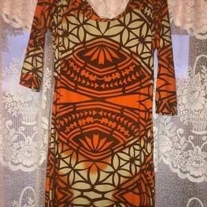 Orange long Polynesian dress🧡